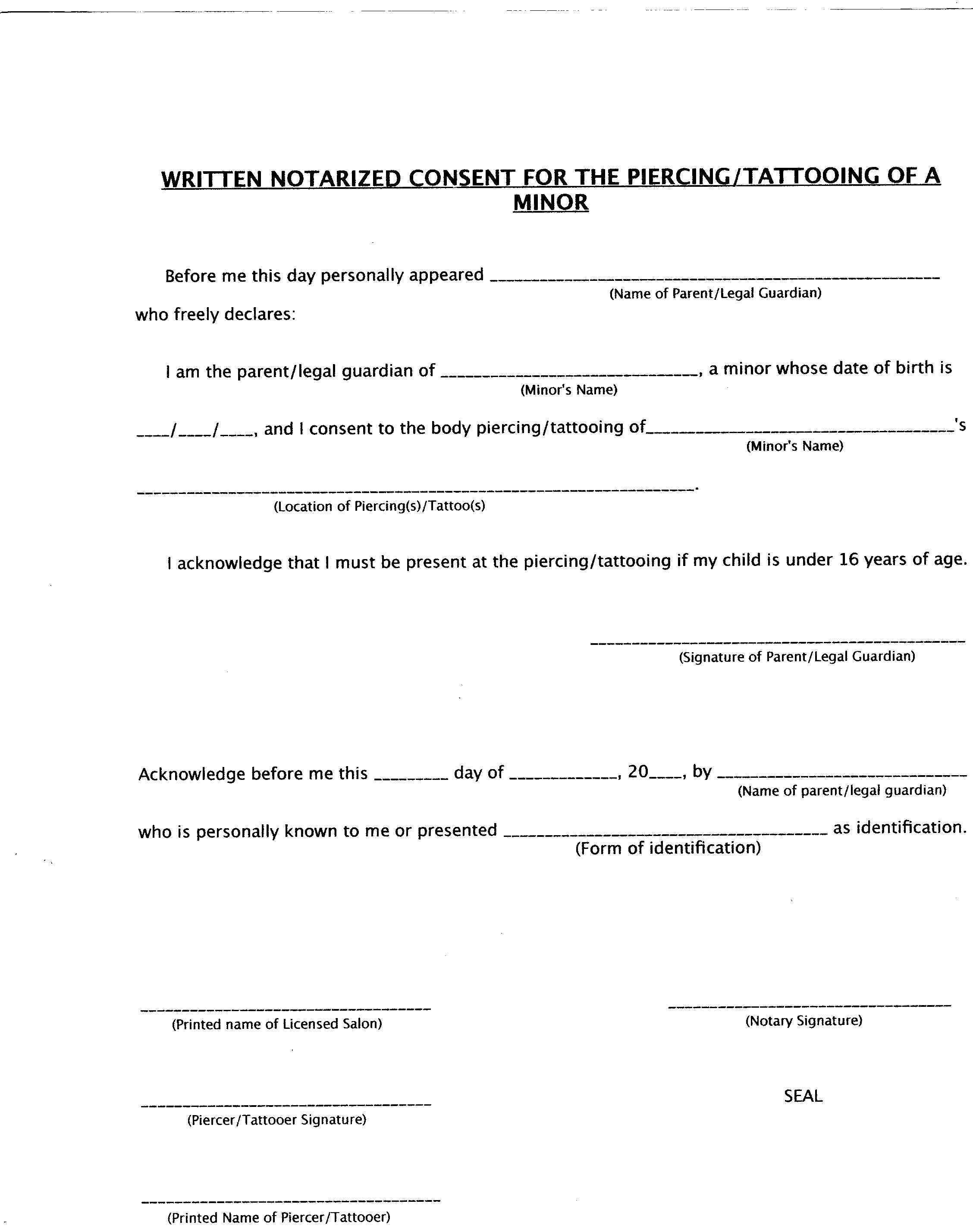 Tattoo consent form for Tattoo release form template